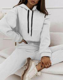 Спортен дамски комплект с долнище с висока талия и суичър с качулка в бяло - код 6241