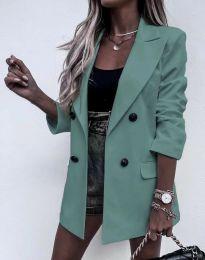 Елегантно дълго дамско сако в цвят мента - код 3716