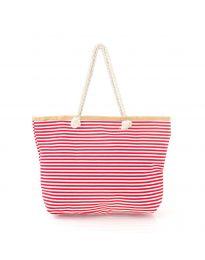 Червена плажна чанта на райе с въжени дръжки - код H-9030