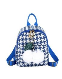 Дамска чанта в синьо в пипит и пухен елемент - код B69