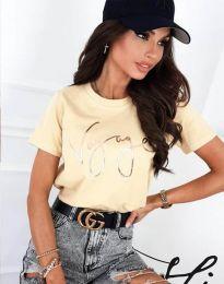 Дамска тениска в светложълто - код 3350