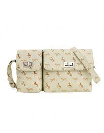 Дамска чанта в бежово с два джоба с капаци и животински орнаменти - код B95 - 1
