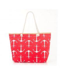 Плажна чанта в червено на котви с въжени дръжки - код H-9026