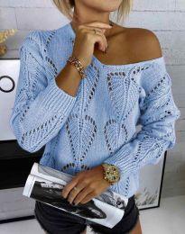 Дамски пуловер с едра плетка в светлосиньо - код 4781