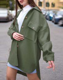 Дамско свободно палто с копчета в масленозелено - код 4070