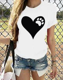 Тениска с ефектен принт в бяло - код 3204