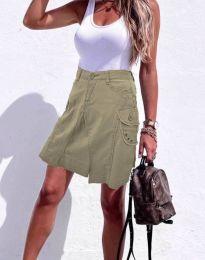Дамска къса дънкова пола в масленозелено - код 0923