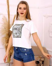 Дамска тениска в бяло с апликация - код 2489