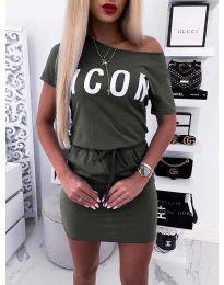 Šaty - kód 9905 - olivová  zelená