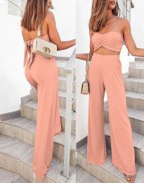 Елегантен дамски сет къс топ и панталон висока талия в цвят пудра - код 6562