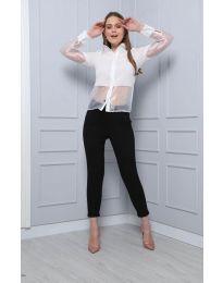 Дамска риза в бяло с елементи от тюл - код 0638