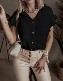 Дамска риза къс ръкав с къдрици в черно - код 4136