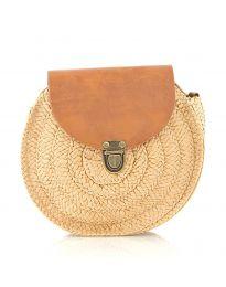 Дамска чанта в цвят капучино от три части от плетиво с капак и дълги дръжки - код 90144-13