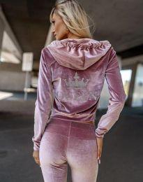 Атрактивен спортен комплект долнище и суичър с качулка в розово - код 4829