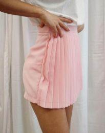 Дамска къса плисирана пола тип панталонки в розово - код 8787