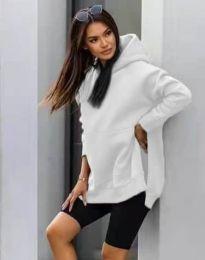 Спортна дамска туника с качулка в бяло - код 2313