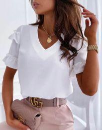 Дамска блуза в бяло с къдрички - код 2670