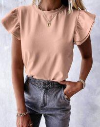 Дамска тениска в цвят прудра - код 6215