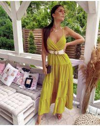 Volné dlouhé šaty - kód 719 - hořčice