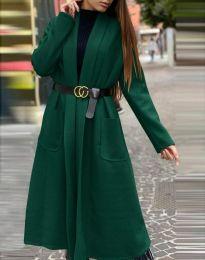 Дамско дълго палто в тъмнозелено - код 1566