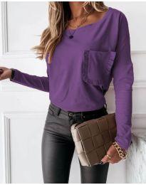 Дамска изчистена блуза в тъмнолилаво - код 4450