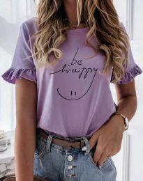 Дамска тениска в лилаво с надпис - код 1038