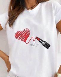Атрактивна тениска с принт в бяло - код 9985