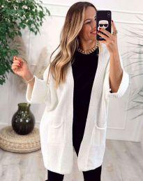 Стилна дълга свободна плетена дамска жилетка в бяло - код 7593