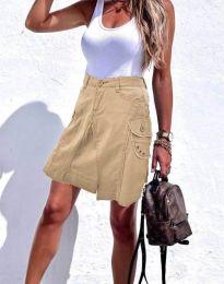 Дамска къса дънкова пола в бежово - код 0923