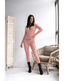 Дамски гащеризон от рипс с цип в розово - код 6414