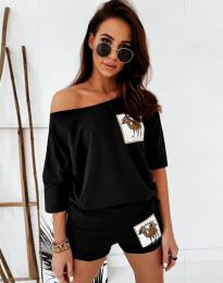 Къс дамски сет блуза и къси панталонки в черно - код 1407