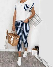 Дамски комплект тениска и панталон в тъмносиньо райе - код 5210