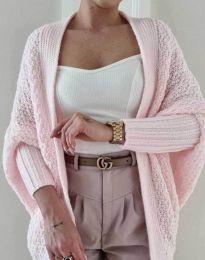 Дамска плетена жилетка в светлорозово - код 5128