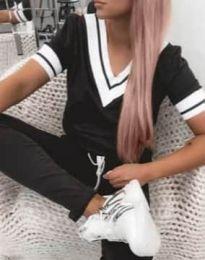 Дамски комплект блуза и панталон в черно - код 5458