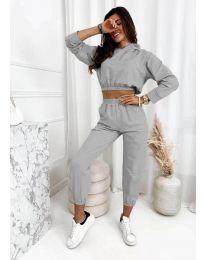Спортен комплект с висока талия и къса блуза в сиво - код 9320