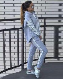 Спортен дамски комплект с долнище и суичър с качулка в сиво - код 3396