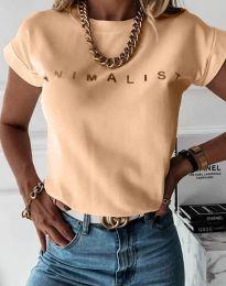 Дамска тениска в светлооранжево - код 4079