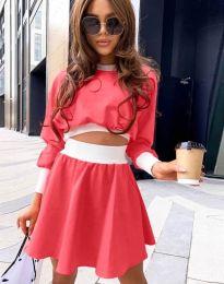 Дамски комплект блуза и пола в цвят циклама - код 1668