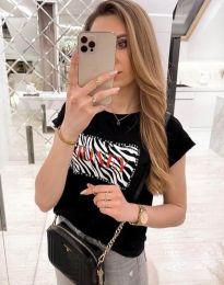 Дамска тениска в черно с ефектен надпис - код 11708