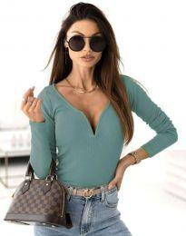Стилна дамска блуза рипс с дълбоко деколте в цвят тюркоаз - код 12048