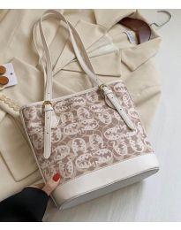 Дамска чанта в бежово с ефектен десен и регулиращи се дръжки - код B32/5049