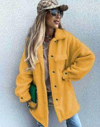 Дамско свободно меко палто с копчета в цвят горчица - код 4967
