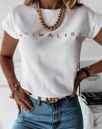 Дамска тениска в бяло със златен надпис - код 4079