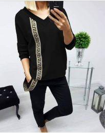 Дамски комплект блуза и панталон в черно - код 8887