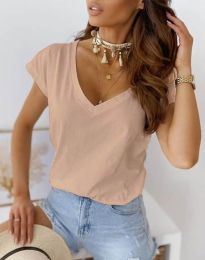 Свободна дамска тениска в цвят праскова - код 2389