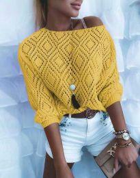 Дамска блуза от плетиво с голо рамо в цвят горчица - код 4701