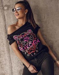 Атрактивна тениска с принт в черно - код 11721