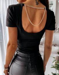 Ефектна дамска тениска в черно - код 0653