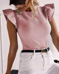 Дамска тениска в цвят пудра с къдрички - код 5955