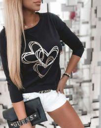 Дамска блуза с щампа в черно - код 4603